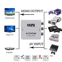 RCA to HDMI Converter Composite AV CVBS Video Adapter 720p 1080p Wii NES SNES