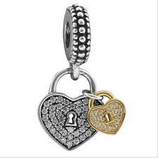Silver&Gold Bead Charm double hearts Pendant Bead Fit European Charm Bracelet