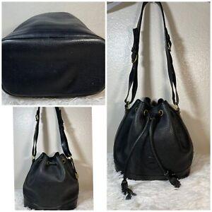 Vtg Dooney & Bourke Dark Blue/Black Drawstring Bucket Purse Handbag AWL Lrg Duck