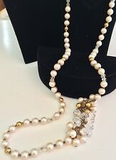 "Opera Length 28"" Vintage Miriam Haskell Swag Necklace~Pearls/Gold/Crystal Beads"