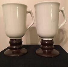 Set of 2 Vintage HALL China Footed Irish Mugs #1273, 10 oz. White & Dark Brown