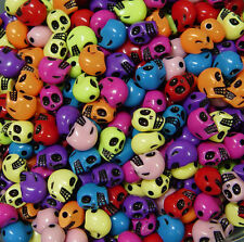 Multi Color Skull shaped Beads for halloween crafts pony bead jewelry decor