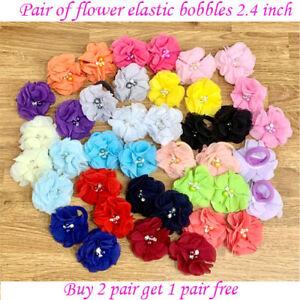 "2.4"" Flower Baby Girls Ribbon cute stone kids Hair elastic bobbles School Pair"