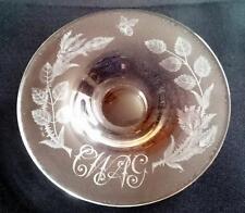 ENGLISH stourbridge Webb piatto di vetro inciso a mano monogramma Scozzese Cardo 1957