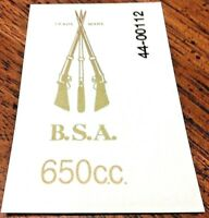 BSA 650c.c. stacked rifles rear number plate die cut transfer A10 A65 1950-65,pr