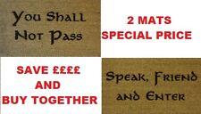 Engraved Door Mat Speak Friend and Enter 40cm x 70cm Internal Coir x 2 mats