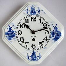 Ancienne Horloge 1920 - 1930 en Faïence à Mouvement Mécanique Moulin Bateau