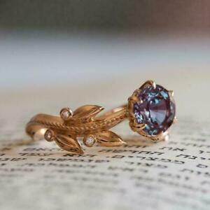 Trending Alexandrite Diamond 2Ct Round Halo Gorgeous Ring 14K Rose Gold Finish