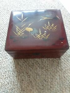 Wooden Odds And Ends Box. Old. Oriental pic 18cmx16cmx9cm vintage. Storage box