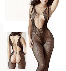 06057BODYSUIT Babydoll Set Lingerie Underwear BODYSTOCKING Crotchless Temptation