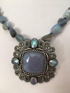 Car. Pollack Relios S.S. Blue Chalcedony Pendant Enhancer & Agate Bead Necklace