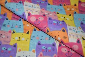 Multi Coloured Cartoon Cats Design Printed Polycotton Fabric, High Quality