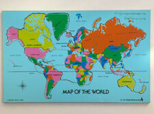 Extremely Rare 1981 Judy Instructo Map of the World Wooden Puzzle J046002 Tray