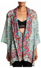 NWT Johnny Was Brock Floral-Print Tie Front Cotton Kimono Top S