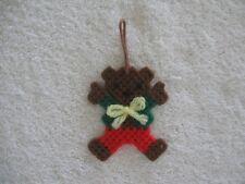 Teddy Bear Christmas Ornament Plastic Canvas Handmade