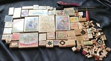 Vintage Used Rubber Stamp Lot Of 116 Stamps Happen Inkadinkado Etc MADE IN USA