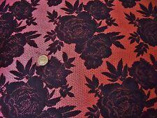 Francés Suave Tela Para Trajes Floral jacquard-salmon Rosa/Negro -dress Tejido