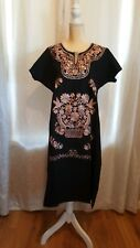 Vintage Mexican Dress Huipil Peasant Embroidered black Oaxaca Cotton 2XL long