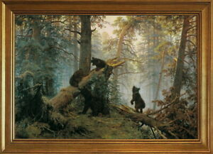Classic Framed Ivan Shishkin Morning in a Pine Forest Giclee Canvas Print