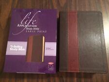 NKJV Large Print Life Application Study Bible- $79.99 Retail- Brown / Tan TuTone