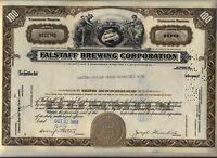 Falstaff Brewing Corporation Stock Certificate Beer