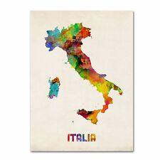 Trademark Fine Art ITALY Watercolor Map Canvas by Michael Tompsett 35 x 47