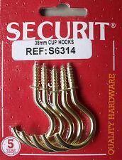 """Vis plaqué en laiton en coupe crochets 38mm hérité 1,5 """"Pack de 5 par securit s6314"""