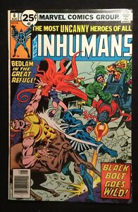 """THE INHUMANS  Vol.1 #6   Aug.1976  """"A KING OF RUINS!"""" Bronze Age 8.0 VF"""