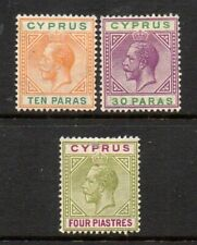 CYPRUS 1912 10 PARAS 30 PARAS 4 PIASTRES SG 74 76 79 MOUNTED MINT - WMK CROWN CA