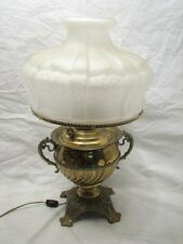 VINTAGE BRASS JUNO OIL LAMP ELECTRIFIED ART NOUVEAU ORNATE W/FROSTED SHADE