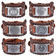 Mens Vintage Viking Brown Leather Norse Metal Rune Design Bracelet