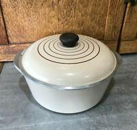 Vtg 4 QT Club Aluminum Dutch Oven Stock Pot Roaster Tan Almond Nonstick Wear
