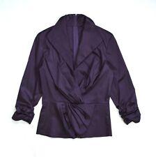 TADASHI SHOJI Purple Structured Stiff Gathered Ruffled Retro Style Jacket Top 10