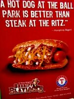 2010 Sheriff Blaylock's Texas Rangers Hot Dog Humphrey Bogart Original Print Ad