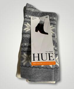 NEW HUE Boot Socks 2 Pairs Snowflake Fairisle Crew