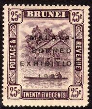 "Brunei 1922 Exhibition deep-purple 25c broken ""N"" & short ""i"" mint SG57a&c"