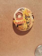 """True Vintage Iron Maiden 1982 Pin Back Button 1.25"""" Not a Repro Made in USA"""