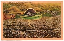 Hollywood Bowl Hollywood CA Amphitheatre Vintage Postcard Fulton 1946 Linen