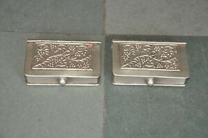2 Pc Old White Metal Floral Embossed Book Shape Handcrafted Betel Nut Boxes