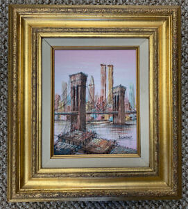 H.Duchamp Oil Painting Brooklyn Bridge & Twin Towers W/ Barges New York City
