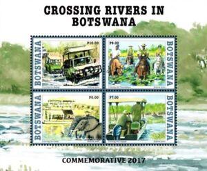 BOTSWANA 2017 Crossing rivers Elephant Horse Zebra Transport Miniature sheet