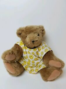 """Vermont Teddy Bear Company Plush Stuffed Animal Toy Teddy 16"""" Smiley Face Outfit"""
