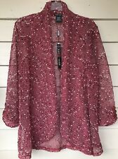 KATIE TODD Cardigan Medium Burgundy NWT Open Front 3/4 Sleeve