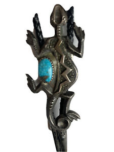 Turquoise OLD Pawn Sand Cast Silver Bolo Tie Lizard Western