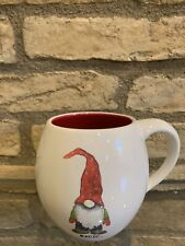 RAE DUNN MAGENTA Magic Gnome Mug Red Interior Christmas Coffee Cup