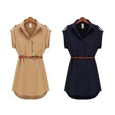 Women Short Sleeve Polo Neck Loose Chiffon Shirt Mini Dress With Belt