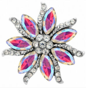 Pink Opal Iridescent Rhinestone Flower 20mm Snap Charm Button For Ginger Snaps