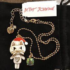 BETSEY JOHNSON CAT Dangle Necklace SANTA Pendant CHRISTMAS Jewelry Gold Filled