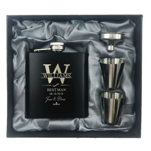 Personalized Engraved Stainless Steel Hip Flask Wedding Best Man Groom Gift Set