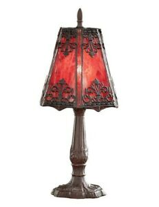 Victorian Trading Co Gothic Crimson Red Stained Glass Table Lamp